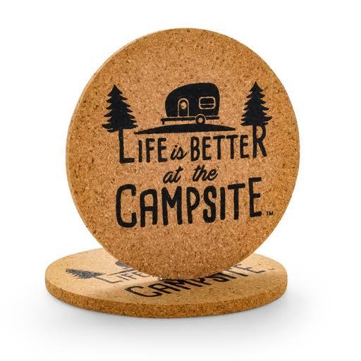 Camco 53229 Logo Life Is Better at The Campsite Cork Camper Pattern Coasters