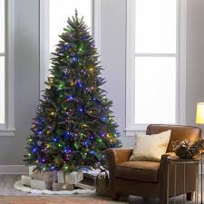 Artificial Christmas Trees For Indoor Decoration Chic Natural Cut PreLit LED Dakota Pine Tree With Remote Control Feature