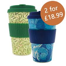 2 X William Morris Ecoffee Cups Reusable Biodegradable Bamboo Travel 04l 14 Oz