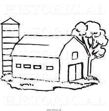 Historical Clipart Of A Barn Beside Silo And Tree - Black And ... Farm Animals Living In The Barnhouse Royalty Free Cliparts Stock Horse Designs Classy 60 Red Barn Silhouette Clip Art Inspiration Design Of Cute Clipart Instant Download File Digital With Clipart Suggestions For Barn On Bnyard Vector Farm Library