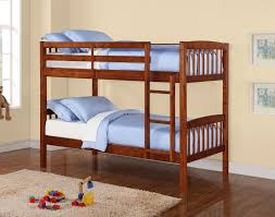 Brown And Blue Bedding by Brown Wooden Crib Bunk Bed With Ladder And Blue Bedding Set On