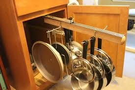 Classic Kitchen Area with Legalized Rack Pull Out Hanging Pot Pans