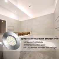 led einbaustrahler ultra flach ip44 badeinbaustrahler inkl 6 x 6w 230v warmweiß einbauspots set für 50w 2800k 540 lumen metall matt nickel bad