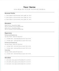 Template Resume Word Standard Easy Example Sample Basic