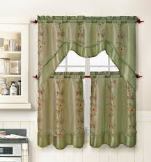 amazon com 3 piece kitchen window curtain treatment set 2 layer
