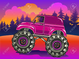 Cartoon Monster Truck On The Evening Landscape In Pop Art Style ...