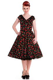 Gorgeous 50s Style Retro Black Cherry Swing Dress