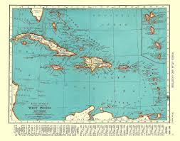 Vintage Map Of West Indies