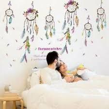 blumen traumfänger vinyl zitat schlafzimmer aufkleber kunst