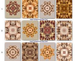 Brown Beige Floral Wall Decor Tan Taupe Orange Flower Art Rustic Living Room Bedroom Dining