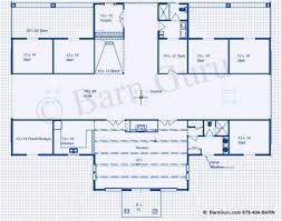 5 stall horse barn plan with a large lounge for entertaining