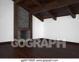 stock illustration leerer wohnzimmer mit kaminofen und