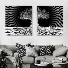 weiß auf leinwand schwarz wandbild abstraktes gemälde