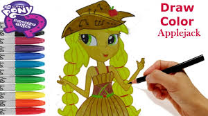 My Little Pony Equestria Girls How To Draw Applejack Coloring Book MLP