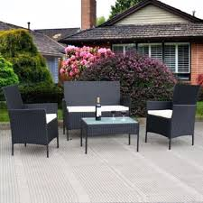 Outsunny 4 Piece Cushioned Outdoor Rattan Wicker Sofa Sectional