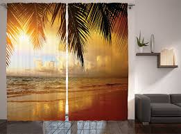 Amazon Curtains Living Room by Amazon Com Living Room Curtains Ocean Decor By Ambesonne Sunset