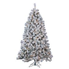 Pre Lit Flocked Artificial Christmas Trees by Sterling 7 Ft Indoor Pre Lit Flocked Green Pvc Montana Pine