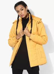 Yellow Solid Winter Jacket