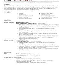 Resume Teacher Objective Example Cover Letter For Resumes Examples Middle School Sample
