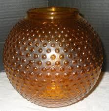 Antique Hurricane Lamp Globes by Vtg Flash Amber Brown Glass Hobnail Parlor Ball Gwtw Hurricane