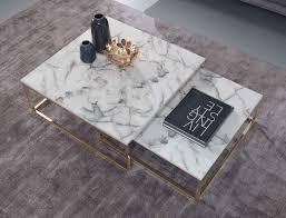 wohnling design couchtisch 2er set weiß marmor optik eckig couchtische 2 teilig tischgestell metall gold edle wohnzimmertische moderne