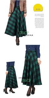 autumn winter women high waist plaid ankle length long skirts plus