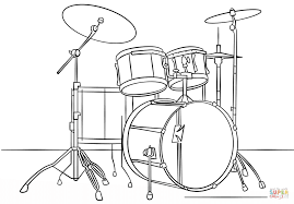 Click The Drum Kit Coloring Pages