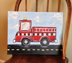 Firetruck Canvas Painting, Emergency Vehicle Painting, Boy's Bedroom ...