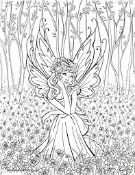 Contemplative Fairy Coloring PagesFree Colouring PagesPrintable Adult