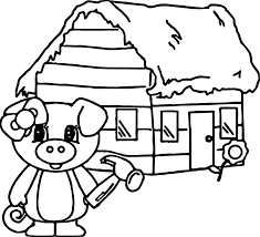 3 Little Pigs House Of Wood Coloring Page