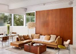 Brown Colors Of Natural Wood Modern Living Room Furniture And Wooden Wall Panels