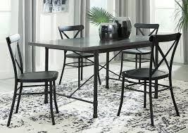 Minnona Aged Steel Rectangular Dining Table W 4 Black Side ChairsSignature Design By