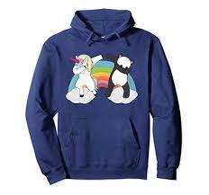 Unisex Dabbing Unicorn Sweatshirt Hoodie Panda Hoodies Medium Navy