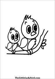 Birds On Tree Coloring Page