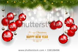 Christmas Design Template Of Holiday Sale Red Balls On White Background With Snowflake Stars