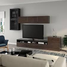 ikea bestå tv storage combination glass doors black brown
