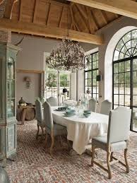 Exposed Wooden Ceiling Brick Floors And Traditional Formal Dining Room
