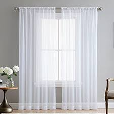 Chiffon Curtains Online India by Amazon Com Elegant Comfort 2 Piece Solid White Sheer Window
