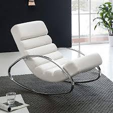 finebuy relaxliege weiß kunstleder sessel fernsehsessel metallrahmen farbe braun relaxsessel design schaukelstuhl wippstuhl modern