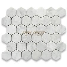 carrara white 2 inch hexagon mosaic tile polished marble from