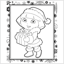 Free Dora Christmas Coloring Page