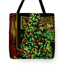 Christmas Tote Bag Featuring The Photograph Neon Tree By Nancy Mueller