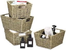 costway aufbewahrungskorb 4er set aufbewahrungsboxen aus seegras für regale und schränke zum organisieren küche badezimmer kaufen