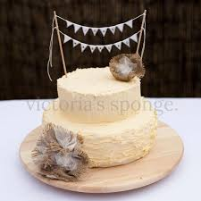 Rustic Finish Buttercream Wedding Cake With Handmade Bunting And Hessian Flowers