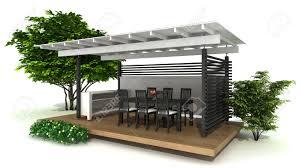 rendering eines outdoor küche und essbereich isoliert auf weiß