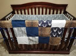 boy crib bedding navy buck deer skin gray arrow crib bedding