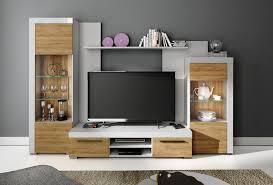 details zu wohnwand avio wohnzimmer set anbauwand vitrine wandboard tv lowboard weiß eiche