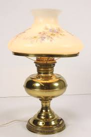 vintage rayo brass electric table l w large glass floral shade