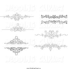 Black And White Ornate Swirl Wedding Border Design Elements