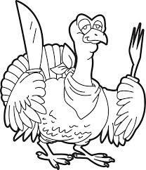 Hungry Cartoon Turkey Coloring Page
